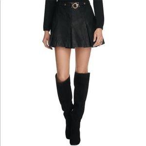 Free People black vegan leather pleated skirt